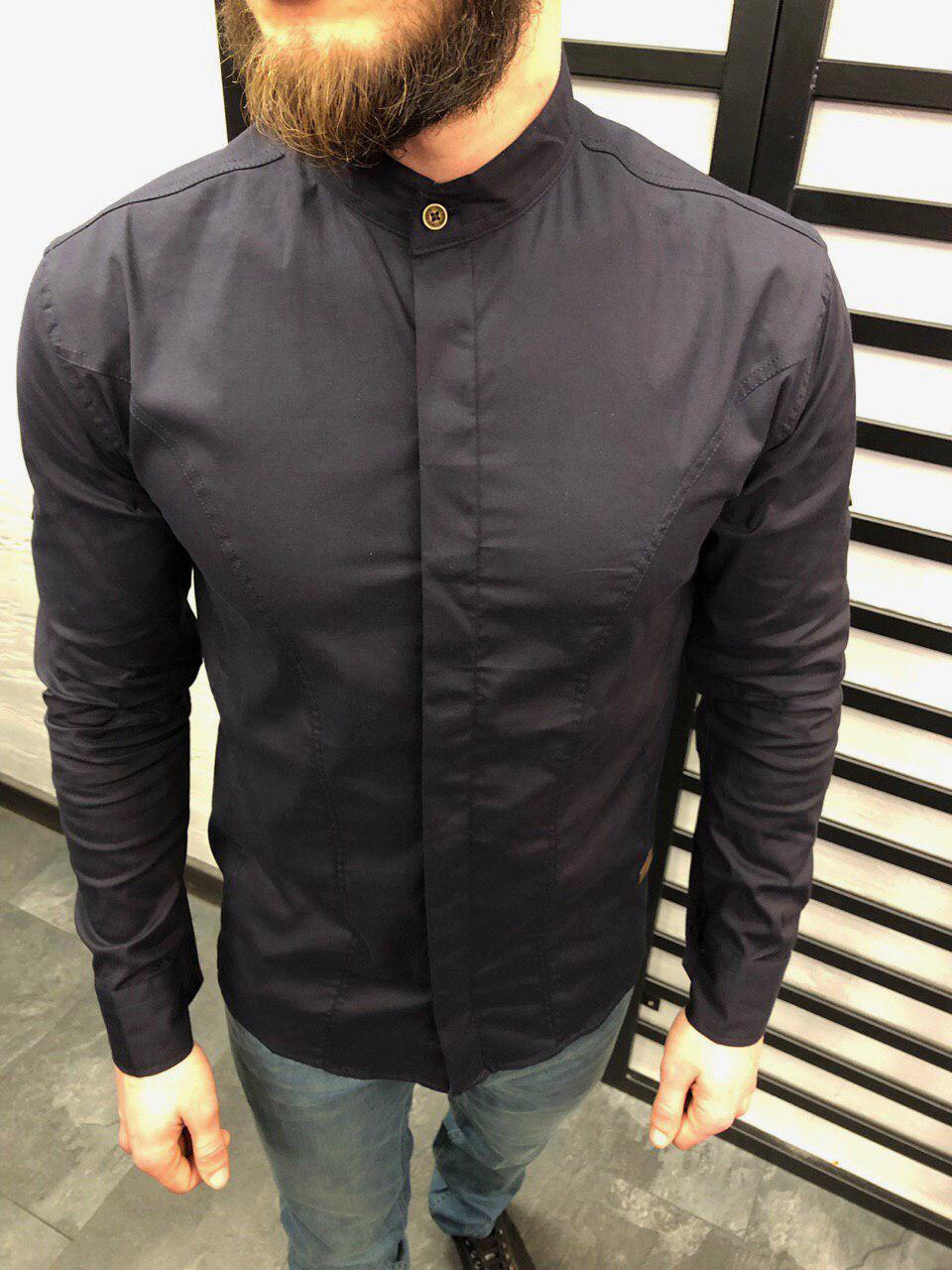 3deefbbaf54 Мужская рубашка приталенная цвета антрацит с воротником стойка - Интернет- магазин обуви и одежды KedON