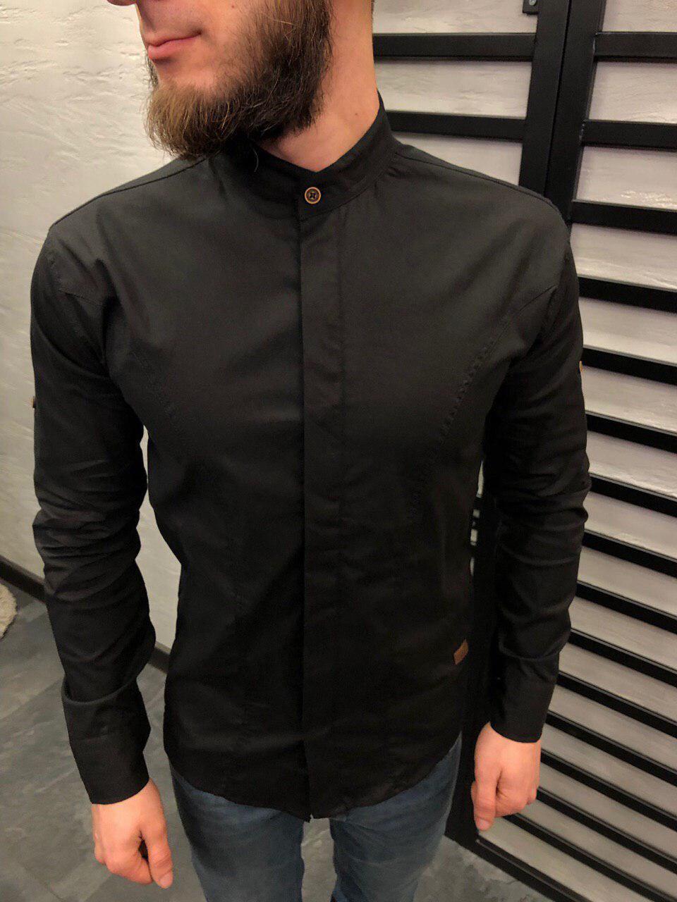 28f5a8cd0a7 Мужская рубашка приталенная черная с воротником стойка - Интернет-магазин  обуви и одежды KedON в