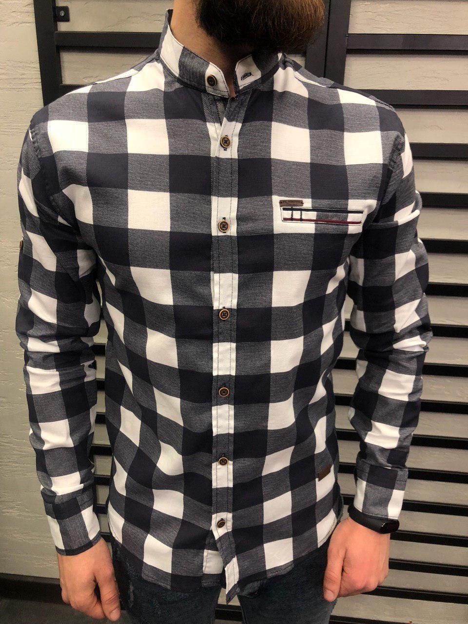 6db2c2d78c1 Мужская рубашка приталенная бело-черного цвета в клетку - Интернет-магазин  обуви и одежды