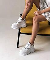 Белые женские кроссовки на высокой подошве в стиле Buffalo, фото 1