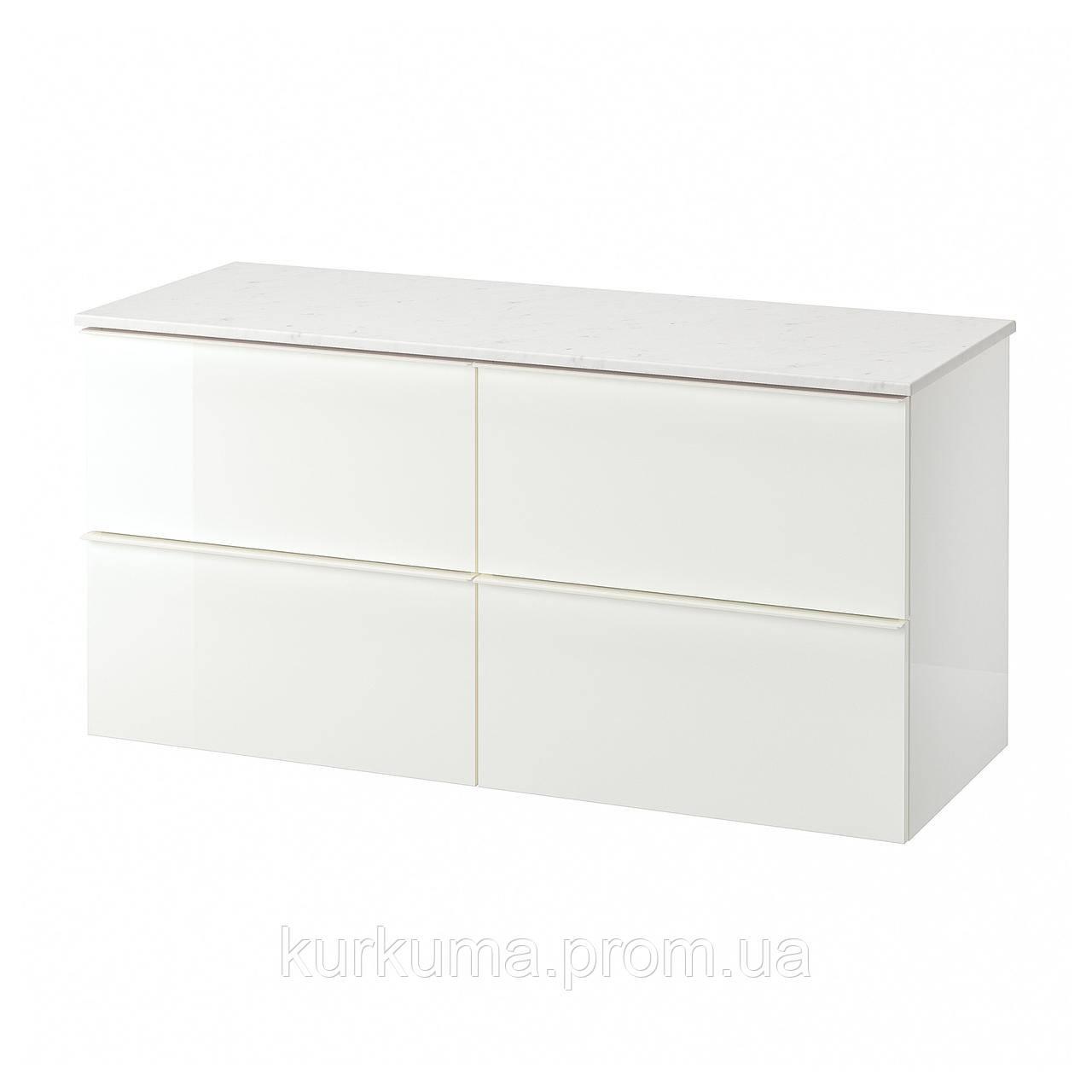 IKEA GODMORGON/TOLKEN Шафа під умивальник зі стільницею з 4 ящиками, глянцевий білий, імітація мармуру
