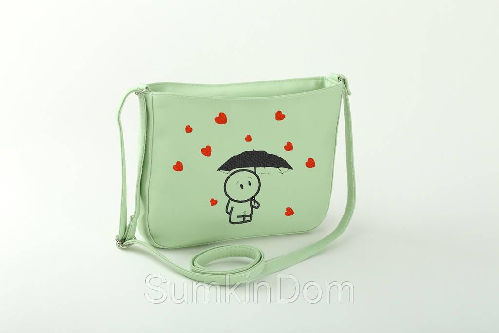 Маленькая сумка с вышивкой «Человек под зонтиком»