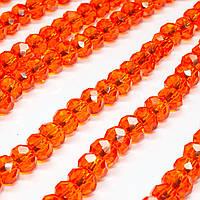 Бусины хрустальные (Рондель)  6х4мм пачка - 95-105 шт, цвет - оранжевый прозрачный
