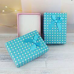 """Подарочная коробочка """"Цветные сердечки"""", цвет голубой с розовым"""