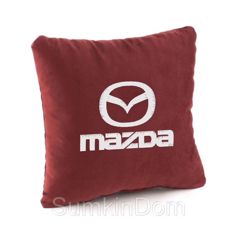Подушка с логотипом Mazda флок