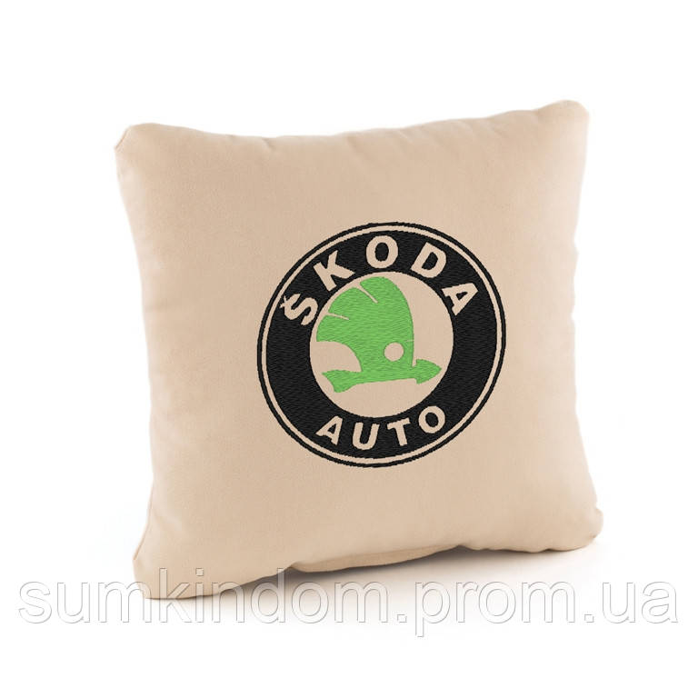Подушка с логотипом Skoda флок