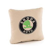 Подушка с логотипом Skoda флок, фото 1