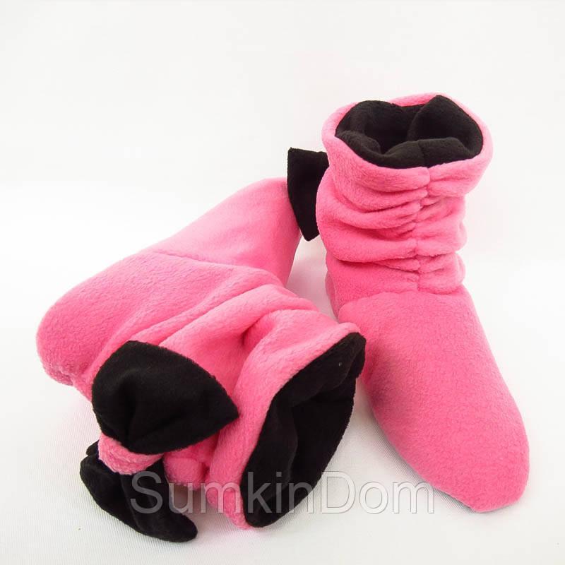 Тапочки Бантики розово черные, фото 1