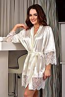 Халат атласный с широким кружевным рукавом Молочный (Айвори). Утро невесты Свадебное бельё Халат с кружевом