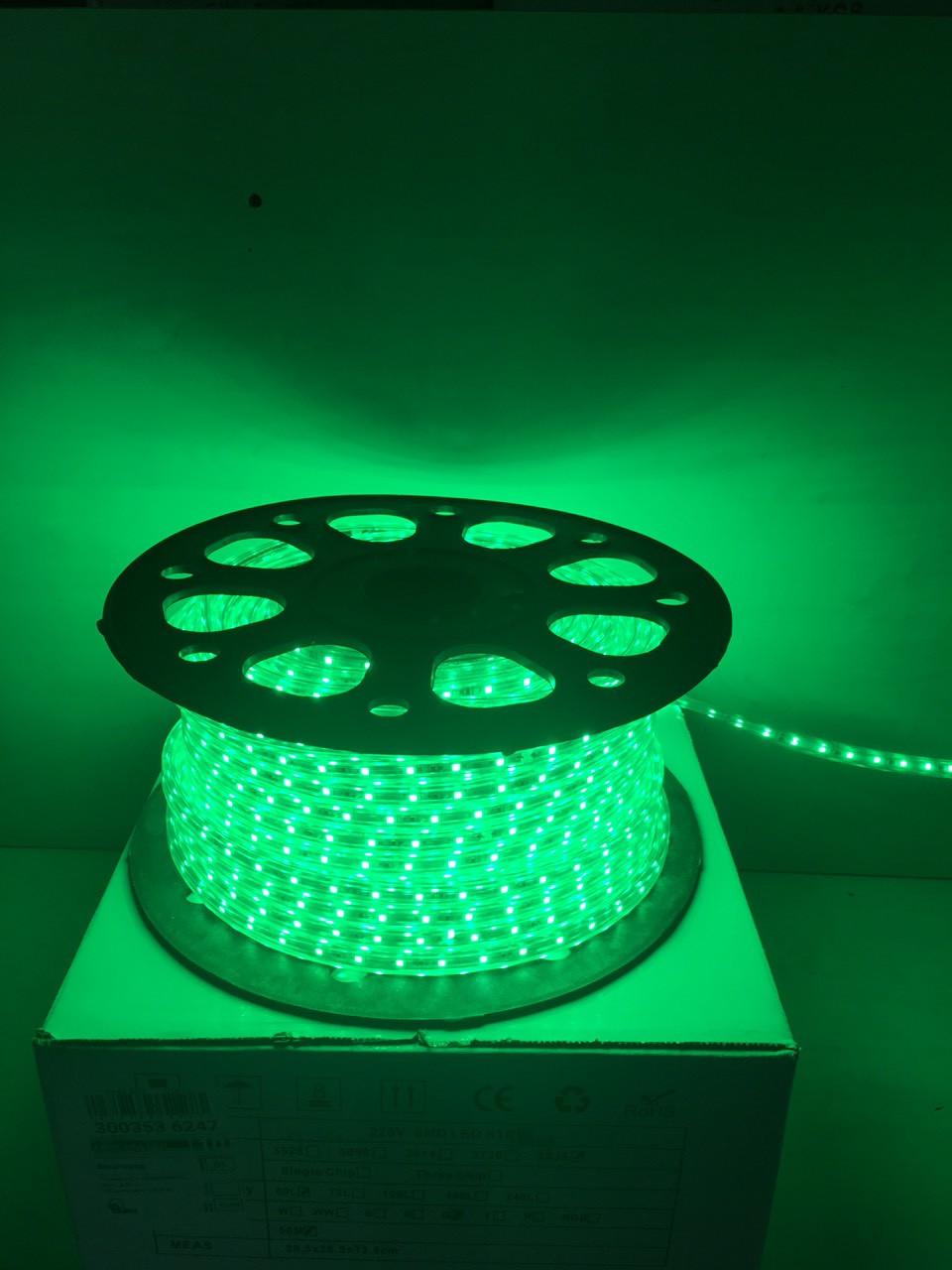Светодиодная лента LED 3528-60 220V IP67 Зелёная (СТАНДАРТ)
