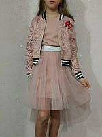 Хит!! Очень модный костюм тройка на девочку с пышной юбкой ажур