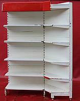 Торговые стеллажи угловые «Росс» 220х75 см. (Украина), Белые, Б/у, фото 1