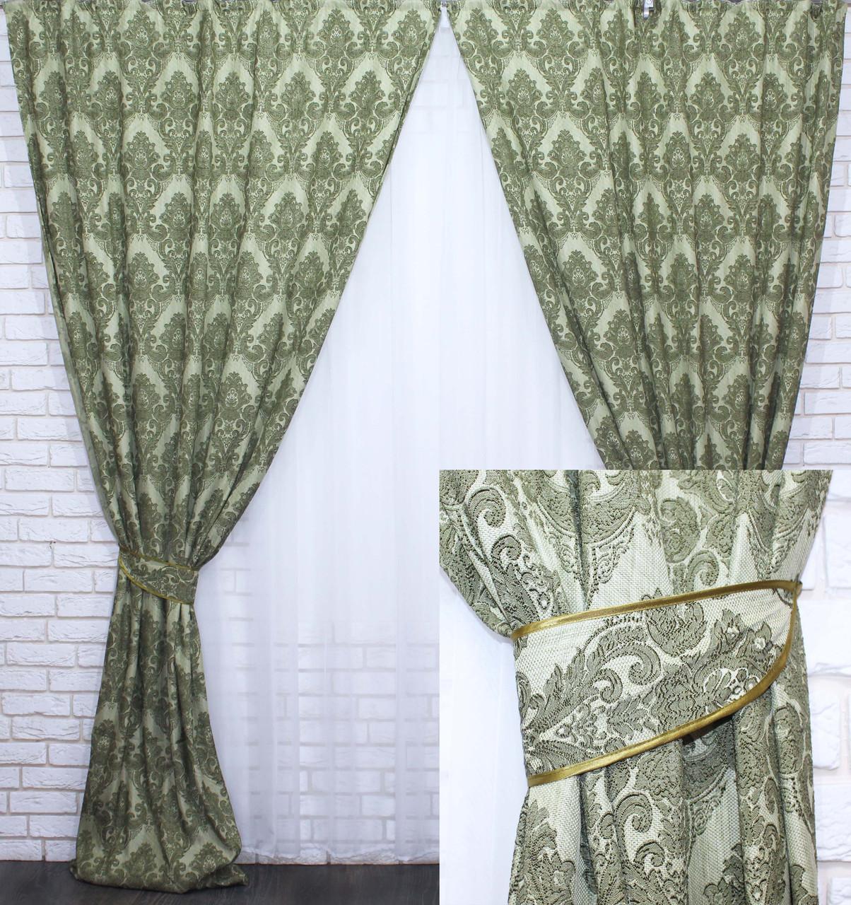 """Комплект готовых штор из ткани лён коллекция """"Роксолана"""",цвет зеленый. Код 340ш"""