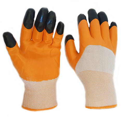 Перчатки рабочие нейлоновые, нитриловый двойной облив, уп. — 12 пар, фото 2