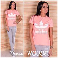 Костюм женский для фитнеса Adidas яркая футболка и лосины Fsa59, фото 1