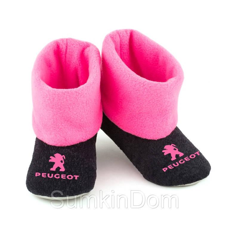 Домашние тапочки Пежо черные с розовым манжетом