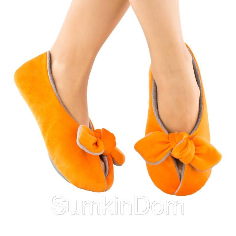 Домашние тапочки с завязками оранжевые с серым багира
