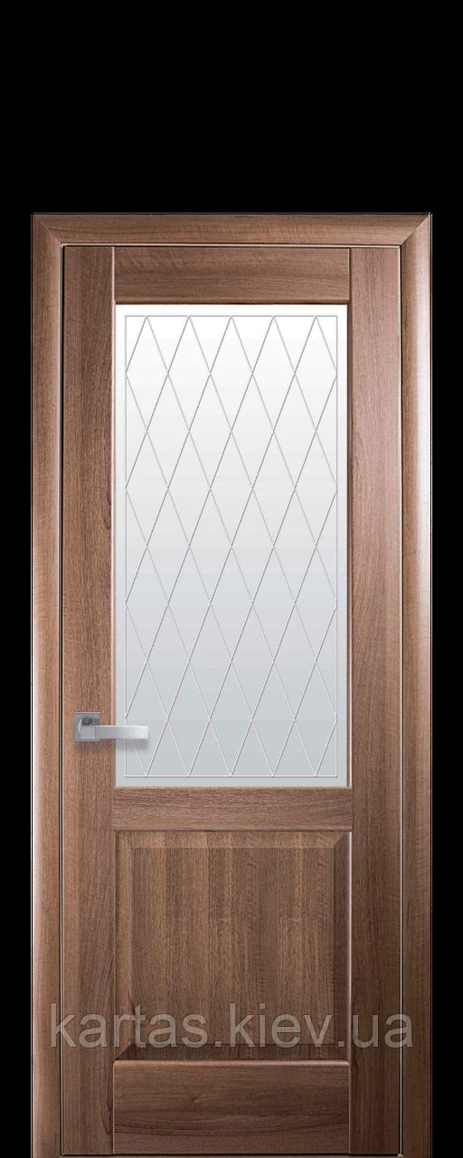 Дверное полотно Эпика Золотая Ольха со стеклом сатин с рисунком Р2