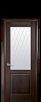 Дверное полотно Эпика Каштан со стеклом сатин с рисунком Р2