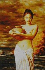 Набор для вышивки картины Девушка у реки 78х64см