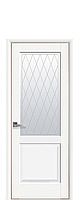 Дверное полотно Эпика Белый Матовый со стеклом сатин с рисунком Р2