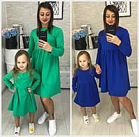 Женское трикотажное платье мама+дочка 18383, фото 1