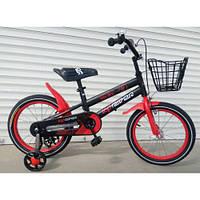 Детский двухколесный велосипед 12 дюймов с корзинкой боковыми колесами