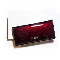 Женский кошелек кожаный лаковый Cardinal красный, фото 1