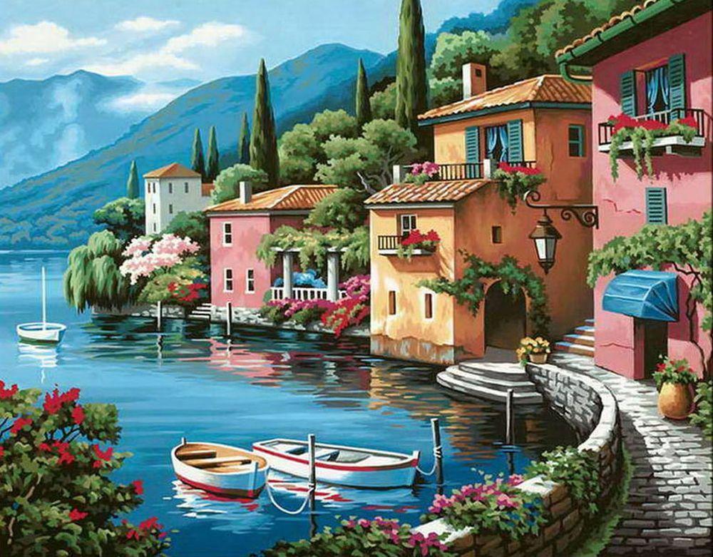 Картины по номерам - Утро на берегу озера