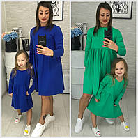 Дитяче трикотажне плаття мама+донька 18383-1, фото 1
