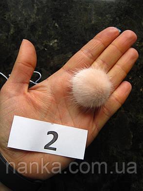 Меховой помпон Норка, Розовая пудра, 3 см, 2, фото 2