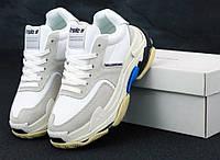 Женские кроссовки Balenciaga Triple S White/Blue (3-x слойная подошва), фото 1