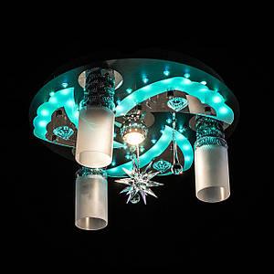 """Люстра """"космос"""" з LED підсвічуванням на пульті управління P5-S0704/3+1/CH+BK+WT"""