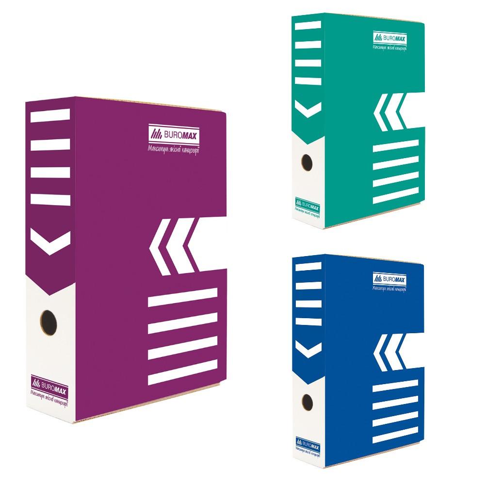 Бокс для архівації документів 80мм, JOBMAX, крафт,синій,бірюзовий,фіолетовий