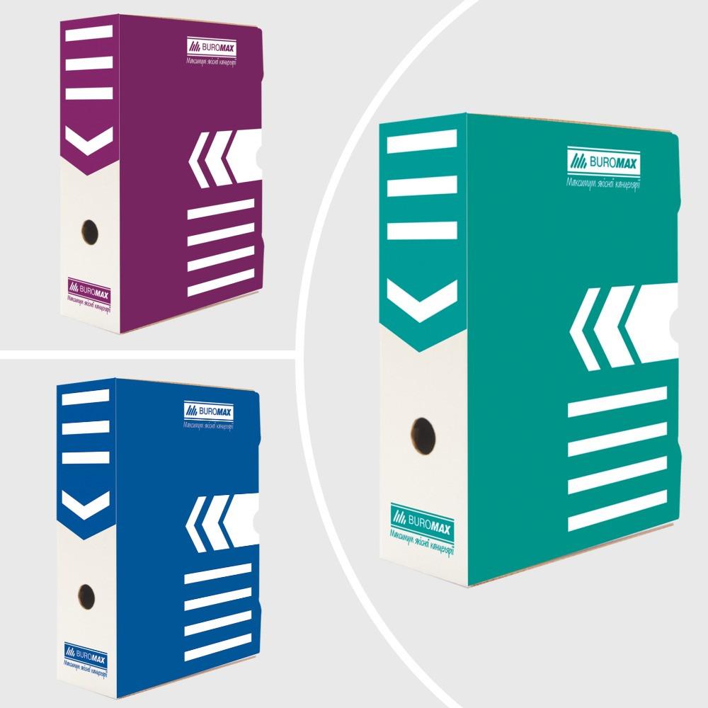 Бокс для архівації документів 100 мм, JOBMAX, крафт,синій,бірюзовий,фіолетовий