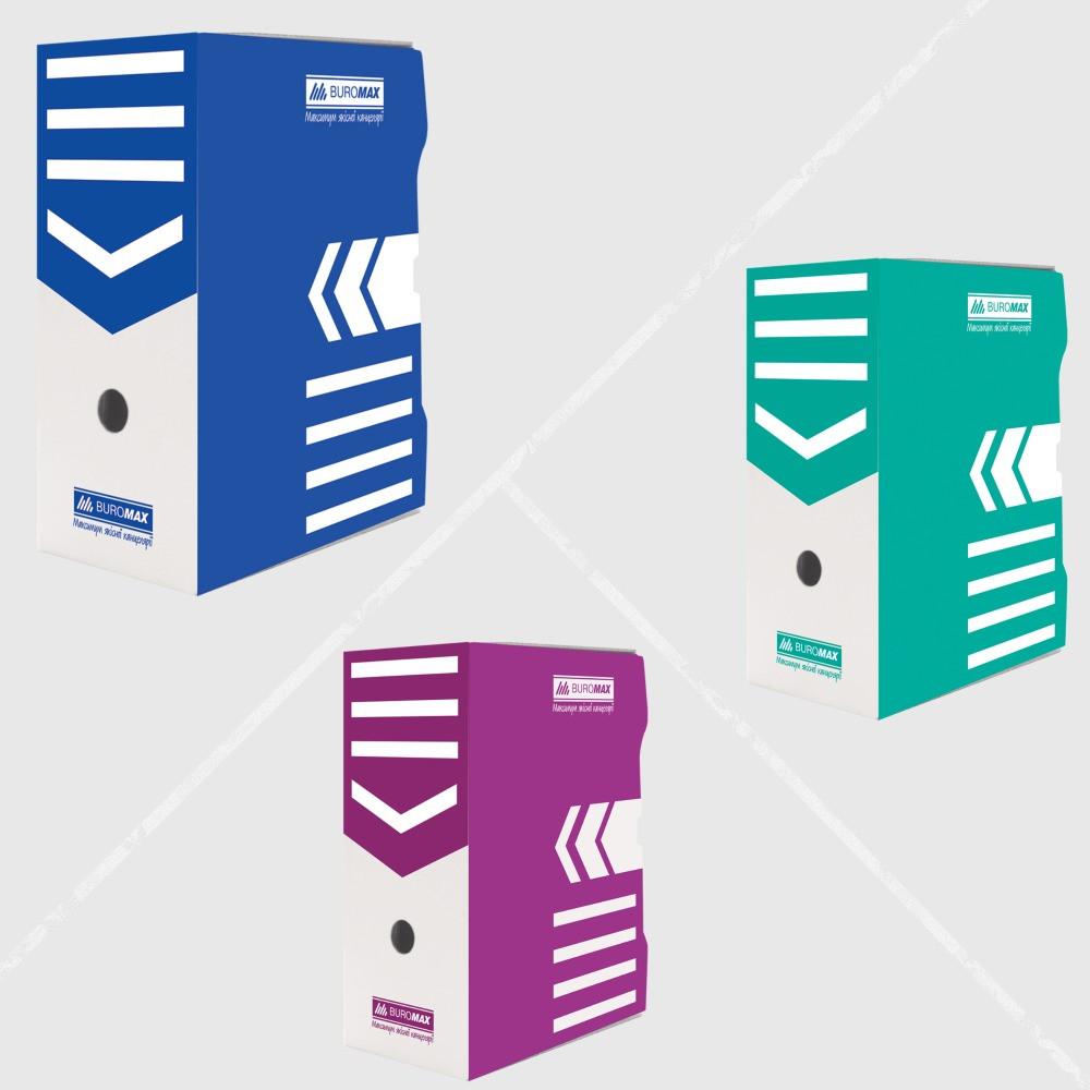 Бокс для архівації документів 150 мм, JOBMAX, крафт,синій,бірюзовий,фіолетовий