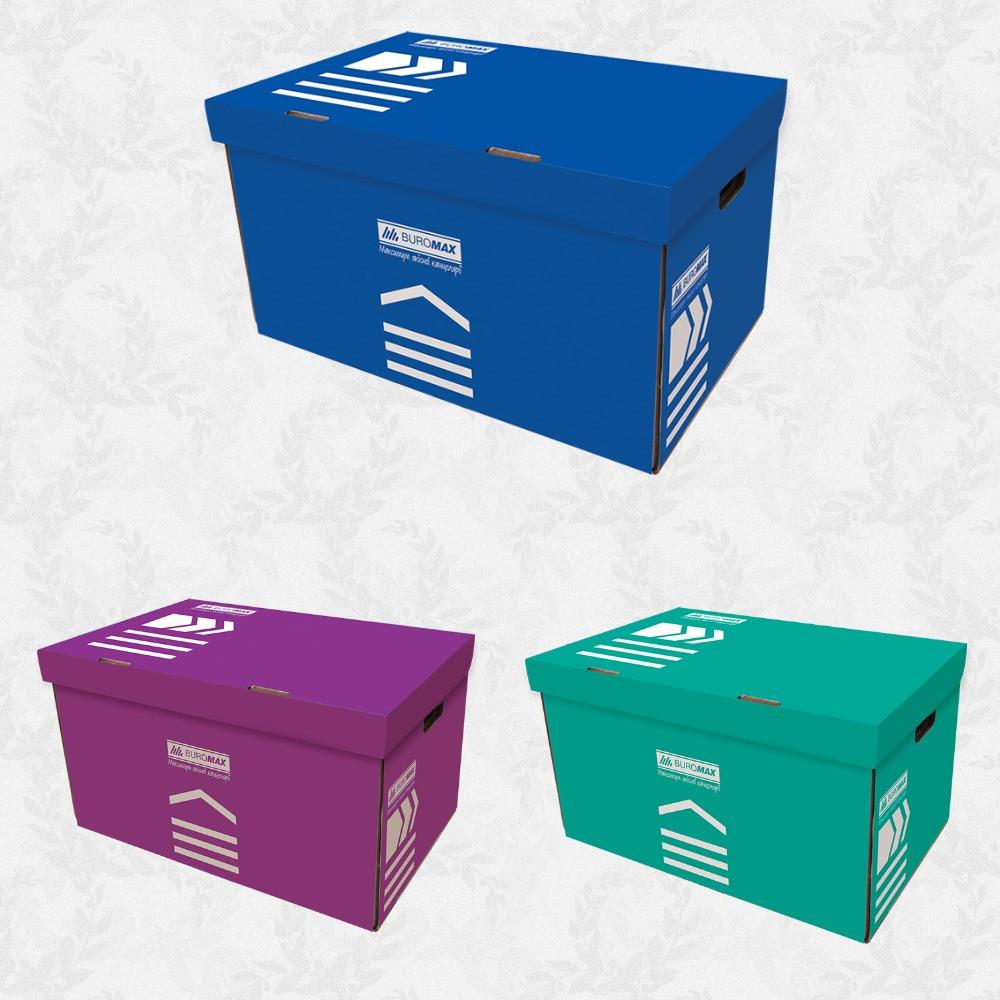 Короб для архівних боксів, JOBMAX, крафт,синій,бірюзовий,фіолетовий