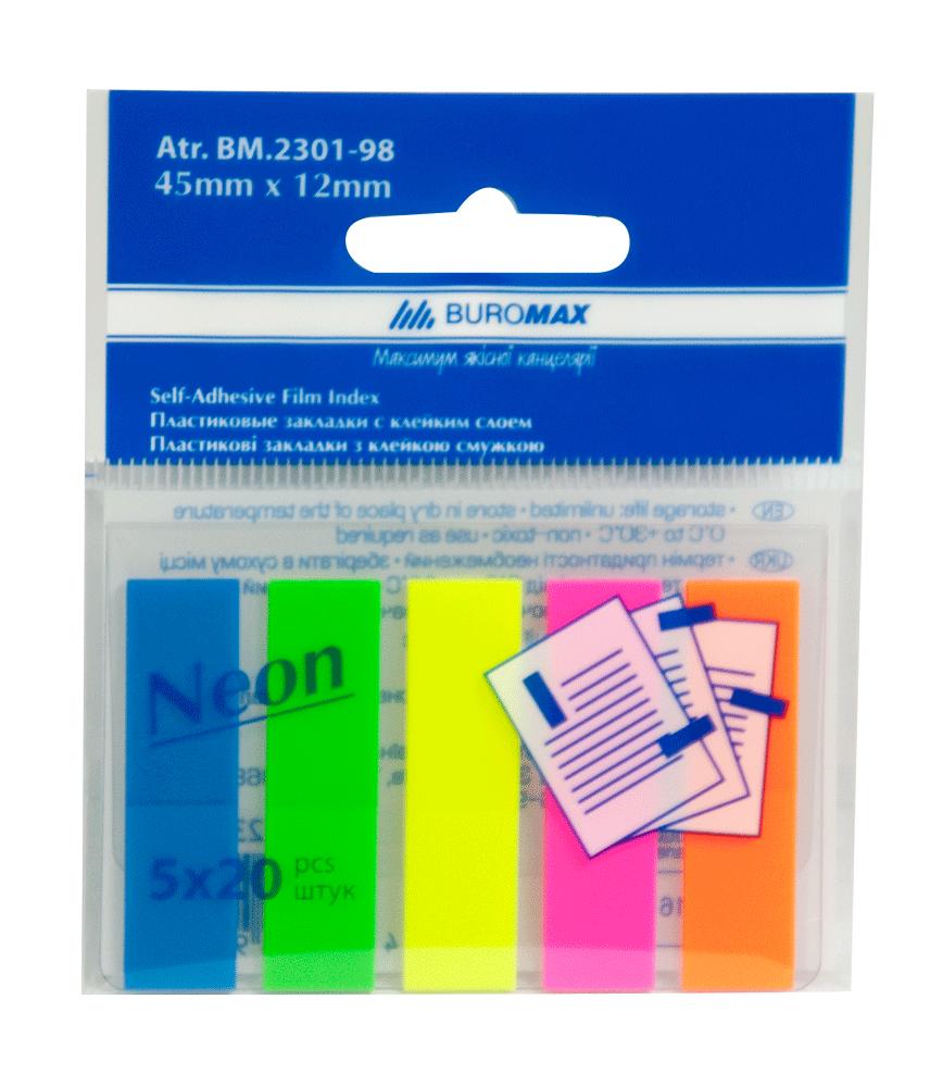 Закладки пластиковые neon 45x12мм, 5х20 листов, jobmax, ассорти