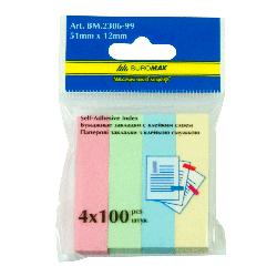 Закладки паперові 51x12мм, 4 х100 аркушів, асорті
