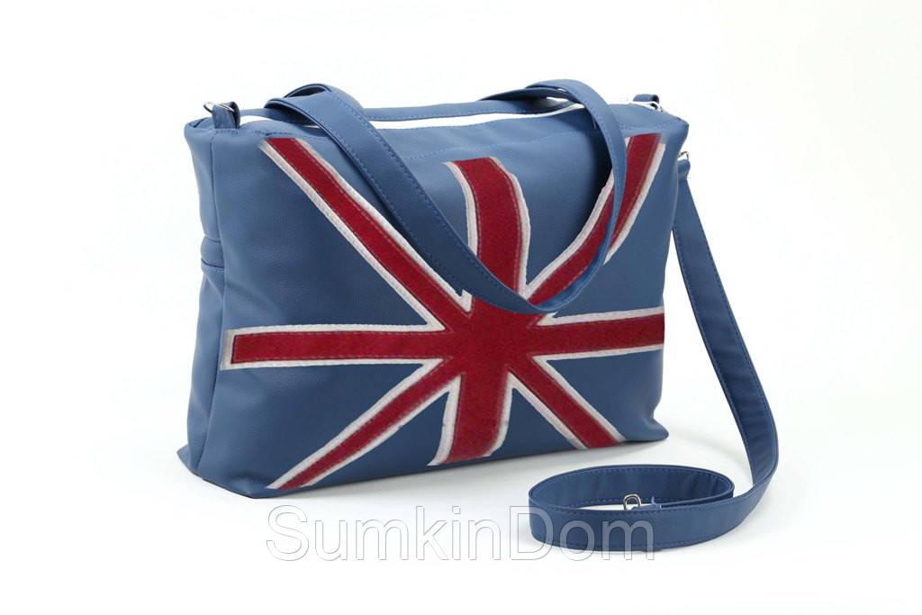 """Сумка Сетчел """"Британский флаг"""" синий флай"""