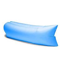 Надувной шезлонг Ламзак Outer Trails с карманом-холодильником, открывачкой для бутылок и колышком Blue