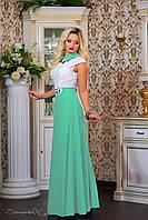 Нарядное летнее женское платье макси с воротником, фото 1