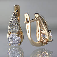 Золотые серьги с фианитами. СП370