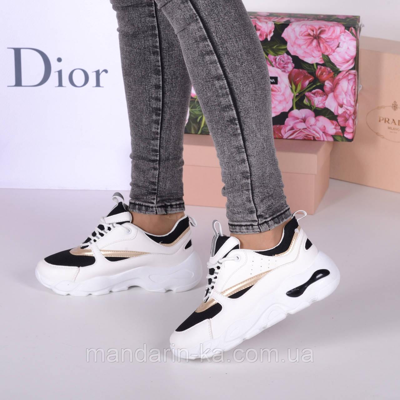 Женские кроссовки с  текстильными вставками