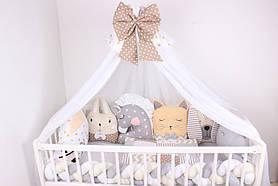 Комплект в ліжечко з іграшками молочно-бежевий