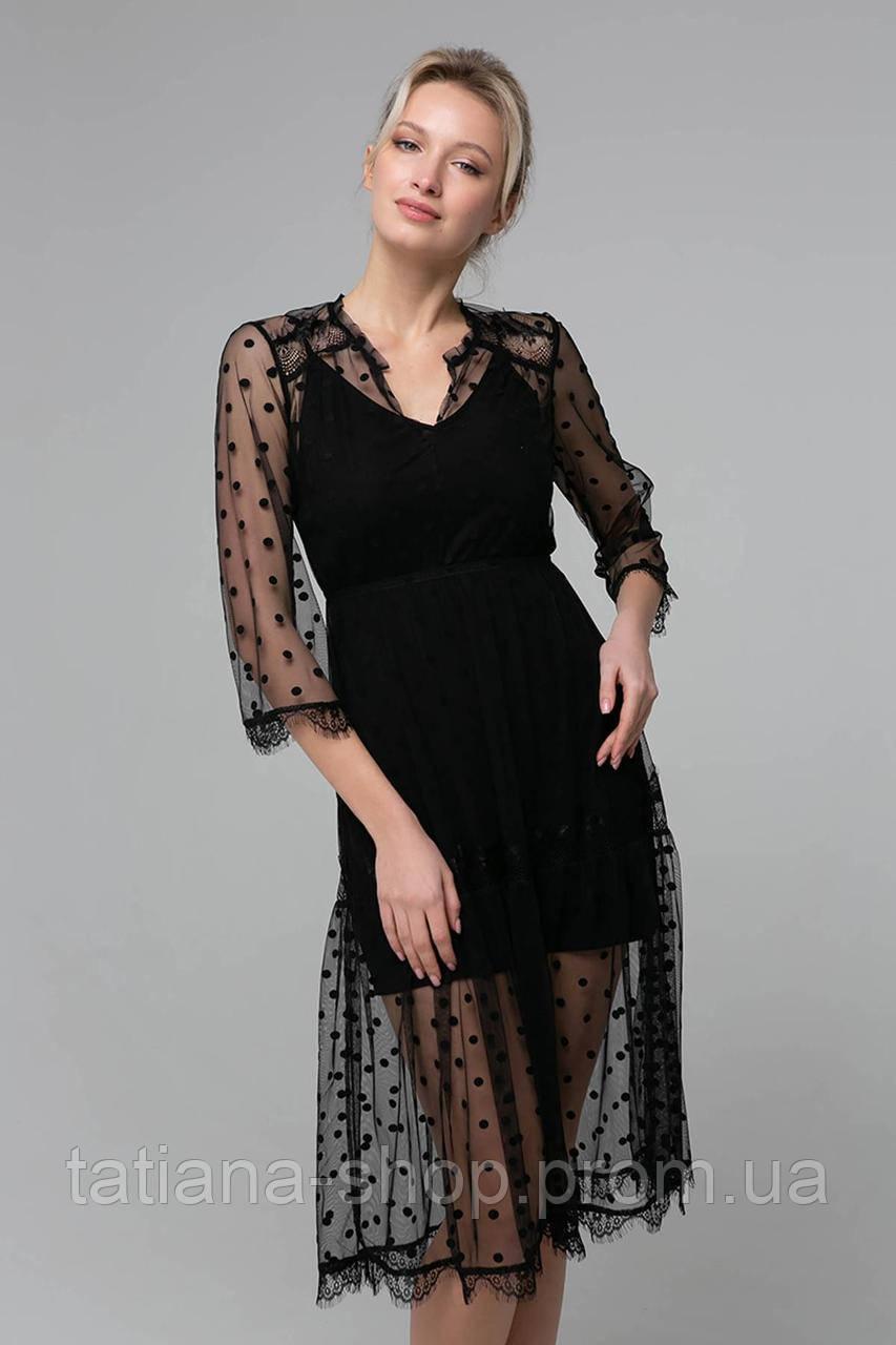 Платье из сетки RONA черное, фото 1