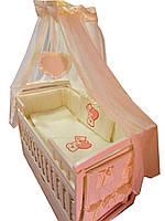 """Комплект постельного белья """"Baby 10 элементов мишка с сердечком бежевый"""""""