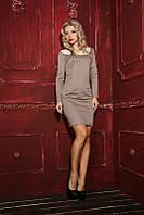 Элегантное женское платье с кружевным воротником 874 | Бежевое