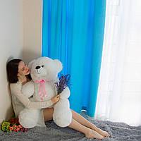 Белый мягкий мишка 100 см с бантом на подарок. Мягкий медведь игрушка плюшевая 1 метр.