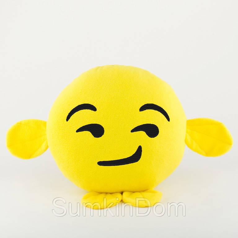 Подушка Смайл Ухмылка желтый флок